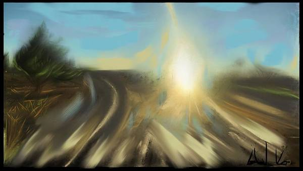 Landscape Poster featuring the digital art Sunrise by Angela Weddle