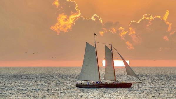 Key West Florida Sunset With The Sailboat America 2.0 Poster featuring the photograph Sunset America 2.0 by Mark Reinnoldt