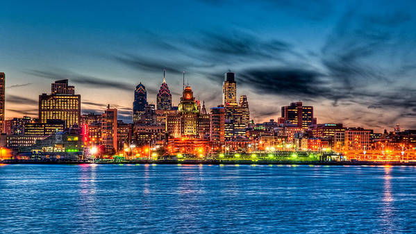 Photography Poster featuring the photograph Sunset Over Philadelphia by Louis Dallara