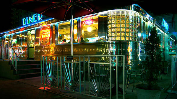 Diner Poster featuring the photograph The Diner By Night by Dieter Lesche