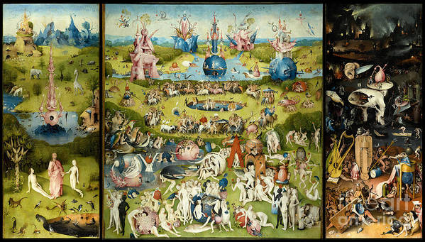 Hieronymous Bosch Poster featuring the painting The Garden Of Earthly Delights 1490-1510 By Hieronymus Bosch by ArtAnthology
