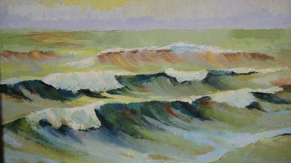 Seascape Poster featuring the painting The Sea by Mabel Moyano