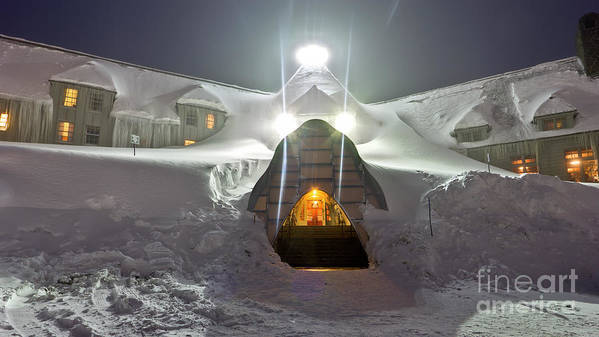 Timberline Lodge Poster featuring the photograph Timberline Lodge Entry Mt Hood Snowdrifts by Dustin K Ryan
