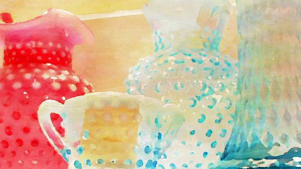Watercolor Print Poster featuring the painting Watercolor Glassware by Bonnie Bruno