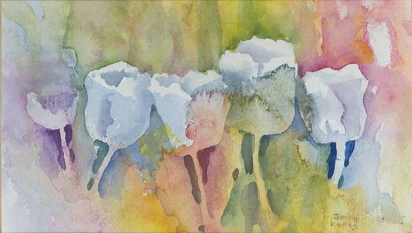 Impressionistic Poster featuring the painting White Tulips by Jerry Kelley