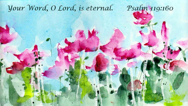 Scriptural Greeting Card Poster featuring the painting Your Word O Lord by Anne Duke