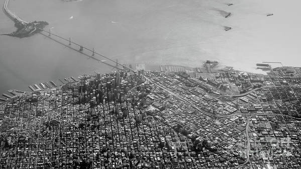 Bridge Poster featuring the photograph Aerial View Of Downtown San Francisco From The Air by PorqueNo Studios