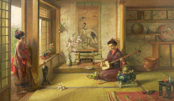 Japanese; Interior; Kimono; Pipe; Fan; Porcelain; Sword; Blossom; Kettle; Mat; Musical Instrument Poster featuring the painting The Stray Shuttlecock by Frank Dillon