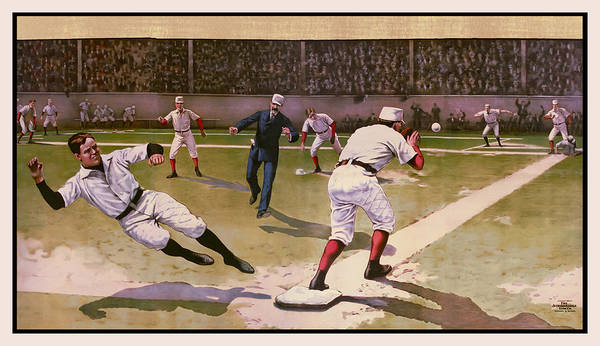 Baseball Poster featuring the digital art 1898 Baseball - American Pastime by Daniel Hagerman
