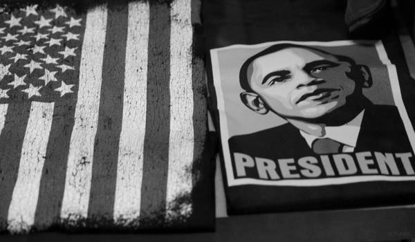 Potus Poster featuring the photograph Commercialization Of The President Of The United States Of America In Black And White by Rob Hans