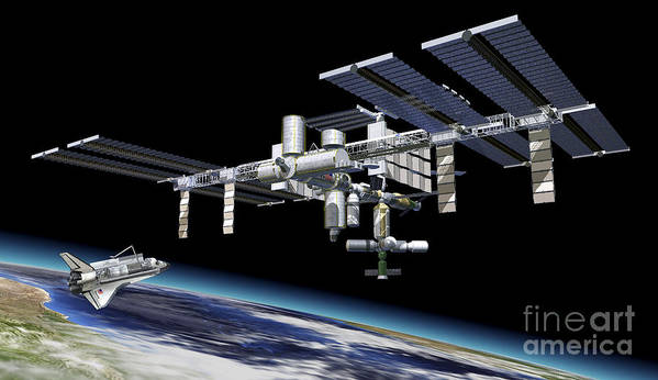 Three Dimensional Poster featuring the digital art Space Station In Orbit Around Earth by Leonello Calvetti