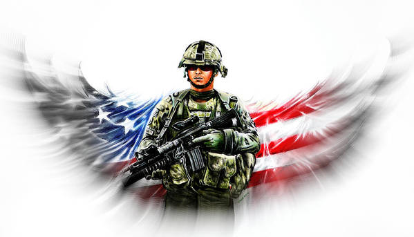 Soldier Poster featuring the painting Americas Guardian Angel 2 by Andrew Read
