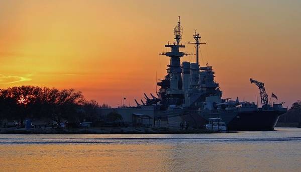 Sunset Poster featuring the photograph Battleship Sunset by Cynthia Guinn