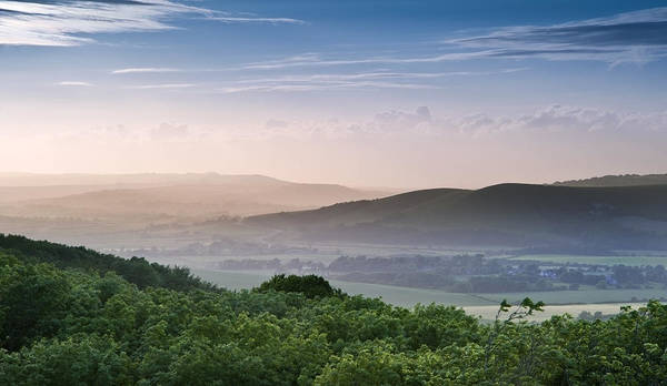 Landscape Poster featuring the photograph Beautiful English Countryside Landscape Over Rolling Hills by Matthew Gibson