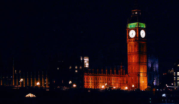 Big Ben Poster featuring the photograph Big Ben At Night by Gina Dsgn
