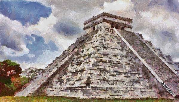 Yucatan Poster featuring the painting Chichen Itza by Jeff Kolker