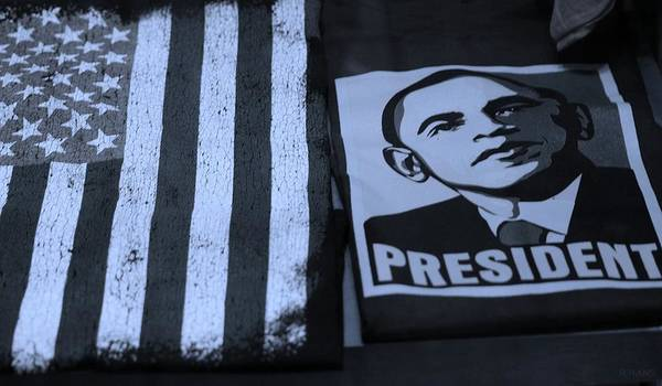 Potus Poster featuring the photograph Commercialization Of The President Of The United States In Cyan by Rob Hans