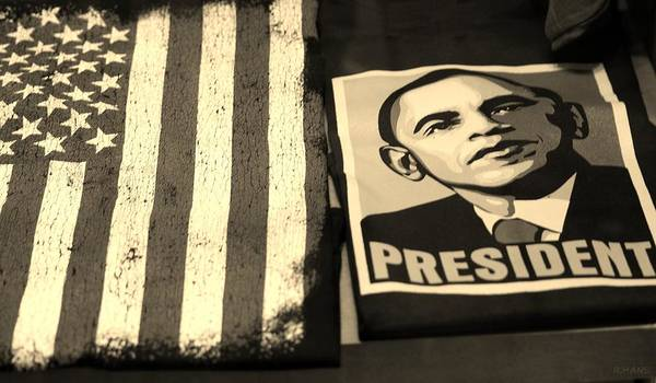 Potus Poster featuring the photograph Commercialization Of The President Of The United States In Sepia by Rob Hans