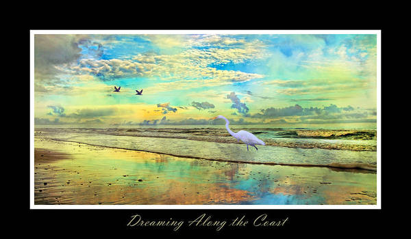 Topsail Poster featuring the digital art Dreaming Along The Coast -- Egret by Betsy Knapp