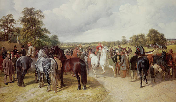 Gathering Poster featuring the painting English Horse Fair On Southborough Common by John Frederick Herring Snr