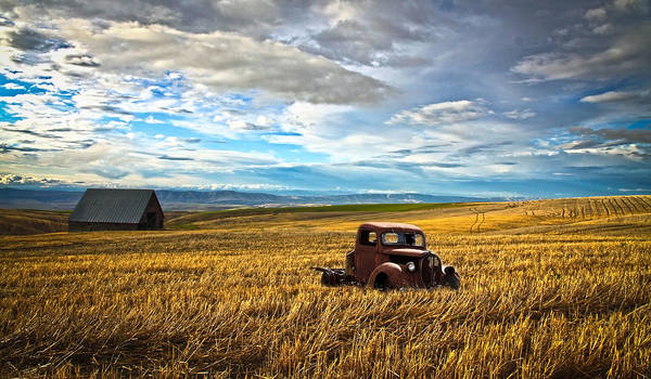 Hot Rod Poster featuring the photograph Farm Field Pickup by Steve McKinzie