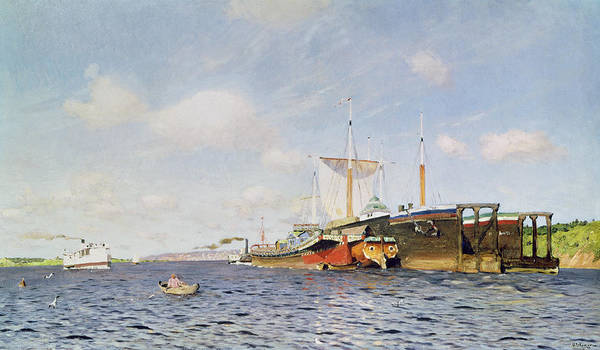 Water; Boats; Tugboat; Ships; Banks; Boat Poster featuring the painting Fresh Wind On The Volga by Isaak Ilyich Levitan