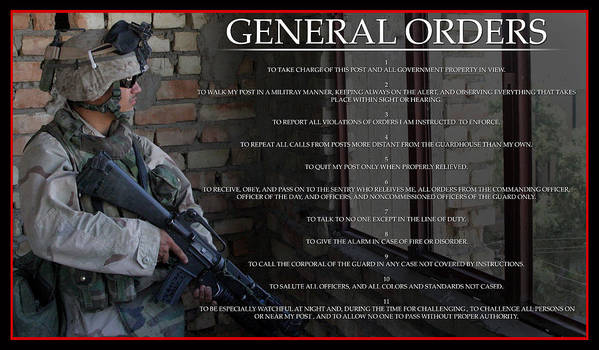 Combat Poster featuring the digital art General Orders by Annette Redman
