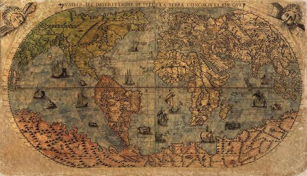 Old World Map Poster featuring the digital art Old World Map by Dan Sproul