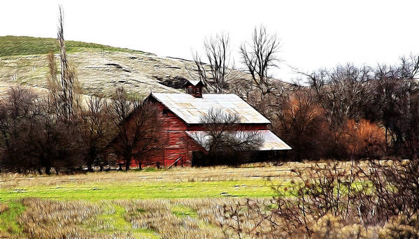 Cabin Poster featuring the photograph Red Barn by Steve McKinzie
