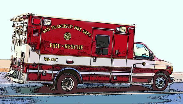 San Francisco Fire Dept. Medic Vehicle Poster featuring the photograph San Francisco Fire Dept. Medic Vehicle by Samuel Sheats