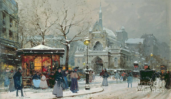 Gas Light Poster featuring the painting Snow Scene In Paris by Eugene Galien-Laloue