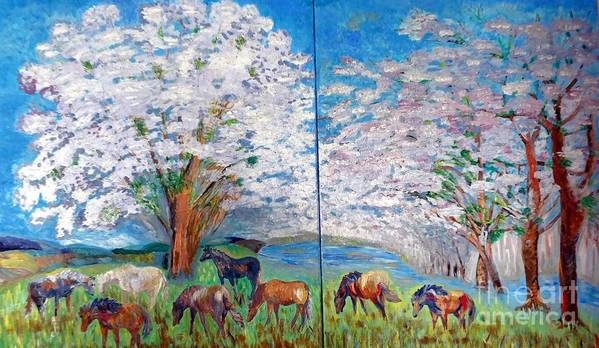 Spring Landscape Poster featuring the painting Spring And Horses by Vicky Tarcau