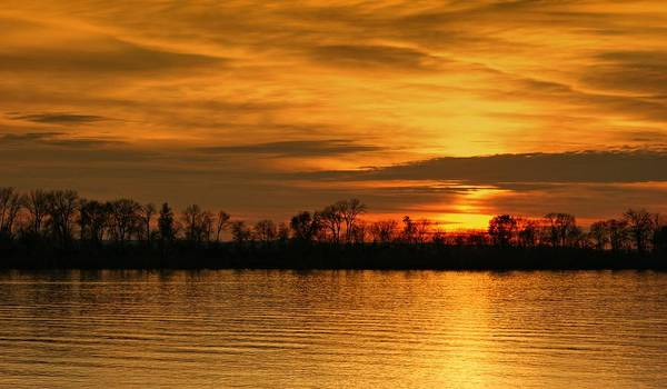 Sunset Poster featuring the photograph Sunset - Ohio River by Sandy Keeton