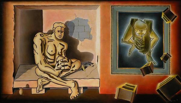 Surreal Poster featuring the painting Surreal Portents Of Genius by Dave Martsolf