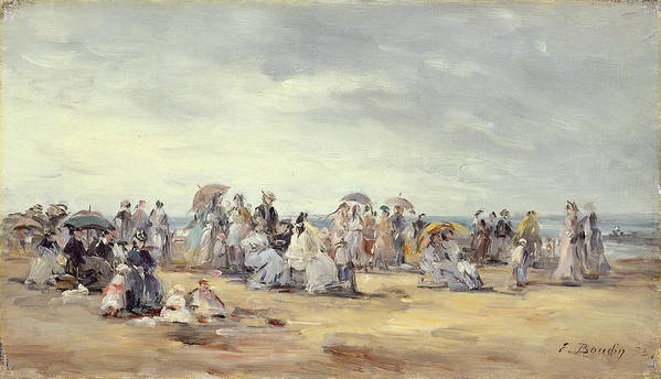 Parasols Poster featuring the painting The Beach At Trouville, 1873 by Eugene Louis Boudin