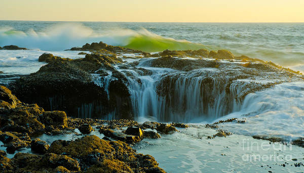 Pacific Poster featuring the photograph Thor's Well by Nick Boren
