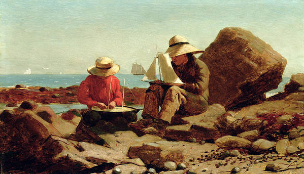 Builder Poster featuring the painting The Boat Builders by Winslow Homer