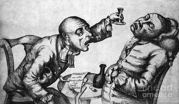 History Poster featuring the photograph Caricature Of Two Alcoholics, 1773 by Science Source