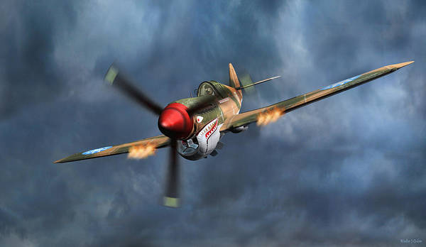 Flying Tigers Poster featuring the digital art Flying Tiger P-40 Warhawk by Walter Colvin