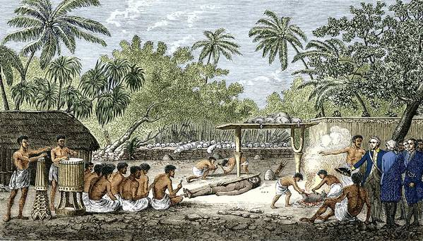 James Cook Poster featuring the photograph Human Sacrifice In Tahiti, Artwork by Sheila Terry