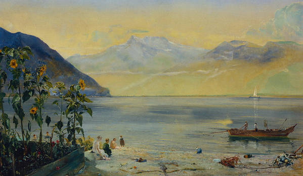 Lake Leman With The Dents Du Midi In The Distance Poster featuring the painting Lake Leman With The Dents Du Midi In The Distance by John William Inchbold
