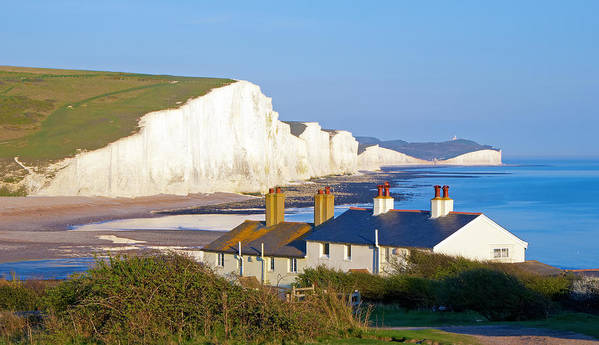 Autumn Poster featuring the photograph Seven Sisters Cottage View by Michael Stretton