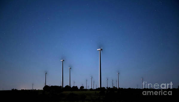 Night Time Photography Poster featuring the photograph Wind Farm At Night by Keith Kapple