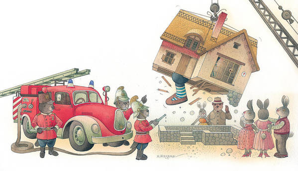 Fireman Rabbit Event Accident Red Poster featuring the painting Rabbit Marcus The Great 15 by Kestutis Kasparavicius