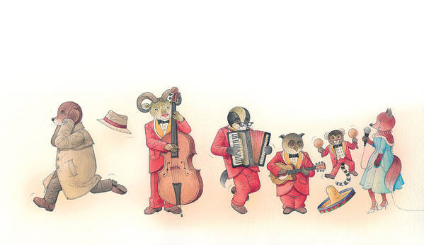 Music Dance Red Animal Instruments Poster featuring the painting Rabbit Marcus The Great 22 by Kestutis Kasparavicius