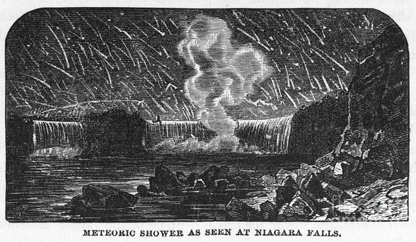 1833 Poster featuring the photograph Leonid Meteor Shower, 1833 by Granger