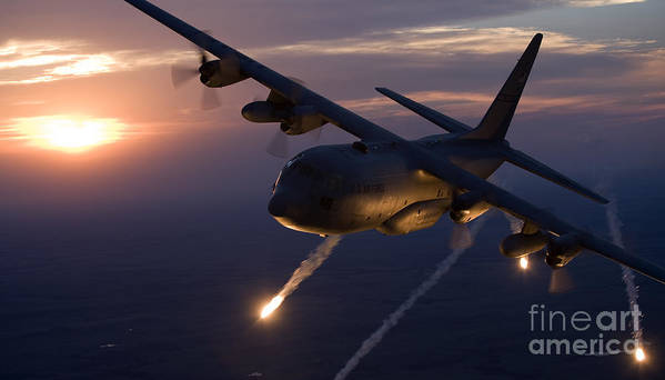 a c 130 hercules releases flares poster by high g productions