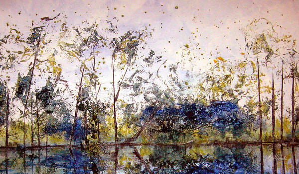 Abstract Poster featuring the painting Along The River Bank by Ruth Palmer