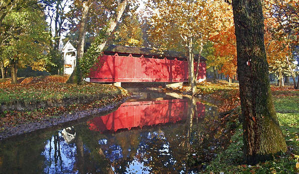 Covered Bridge Poster featuring the photograph Autumn Sunrise Bridge by Margie Wildblood