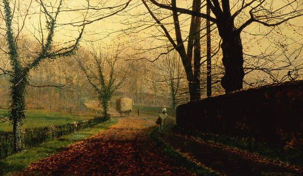 Wall; Leaves; Haycart; Landscape Poster featuring the painting Autumn Sunshine Stapleton Parknear Pontefract by John Atkinson Grimshaw